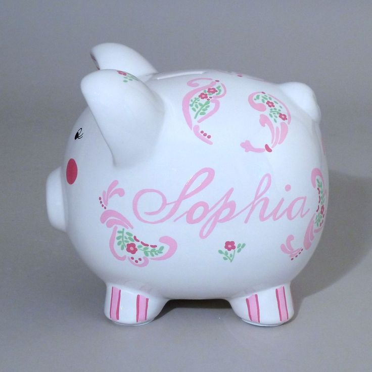 Large Paisley Piggy Bank Is Hand Painted With A Lovely