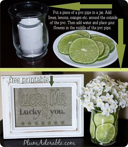 """Free """"lucky me, lucky you"""" printable and how to use limes and lemons in a vase!!"""