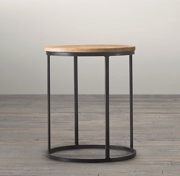 """19"""" Watts Reclaimed Oak Round Side Table  Restoration Hardware 22"""" high    $695    top is reclaimed oak"""