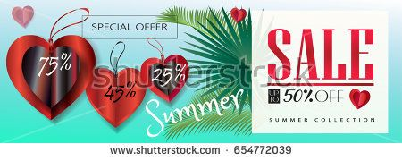 Summer sale discount gift card vector illustration. Template for brochure, placard, poster, card, voucher, invitation. Summer Holiday Big Sale web banner with tropical palm leaves, hearts, tag price.
