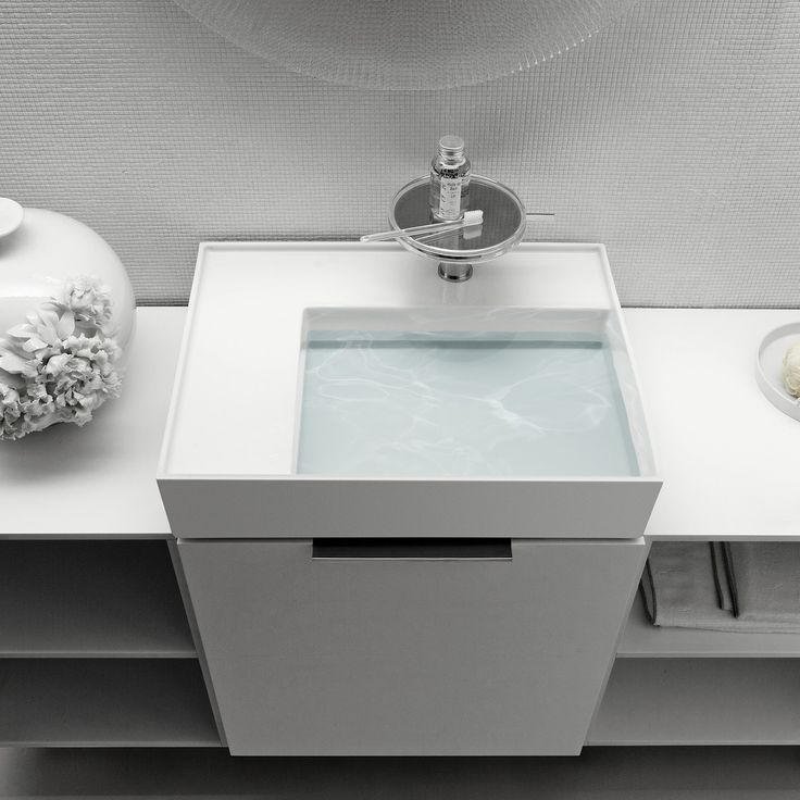 Kartell by Laufen Washbasin with Shelf and Special Hidden Drain by Ludovica Palomba for Laufen  at @yliving and @YBath
