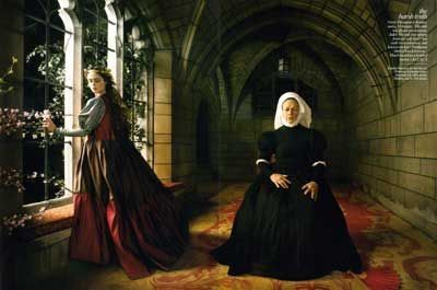 """Romeo and Juliet"" with Coco Rocha as Juliet Capulet and Estelle Parsons as the Nurse, shot by Annie Leibovitz for Vogue December 2008 issue."