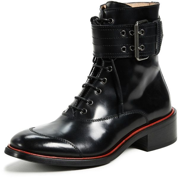 Belstaff Acklington high shine boot with red stripe (18,685 THB) ❤ liked on Polyvore featuring shoes, boots, ankle booties, leather boots, red leather booties, red booties, leather combat boots and laced up boots