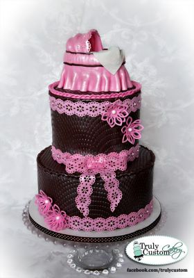 Baby Carriage Shower Cake, chocolate + pink
