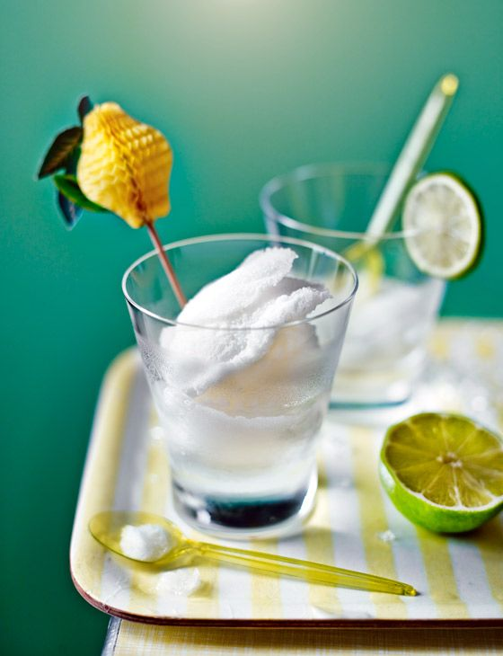Gin and tonic sorbet with lime - grown-up dessert