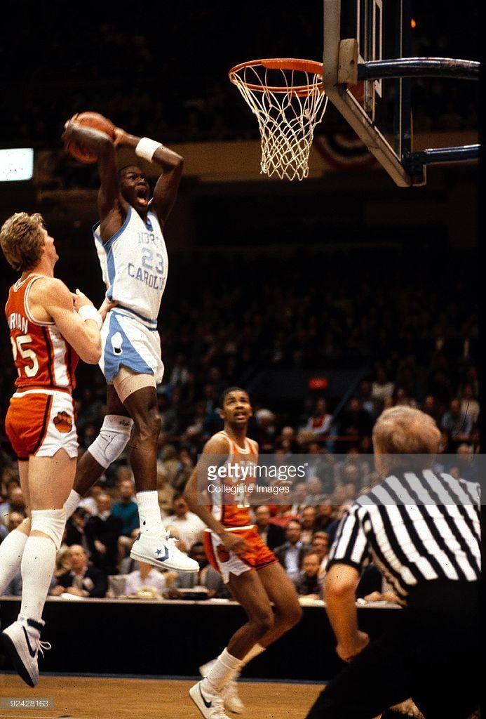Michael Jordan #23 of the University of North Carolina Tar Heels goes up for the slam dunk against the Clemson University Tigrers at Dean. E. Smith Center in Chapel Hill, North Carolina, circa 1982-84.