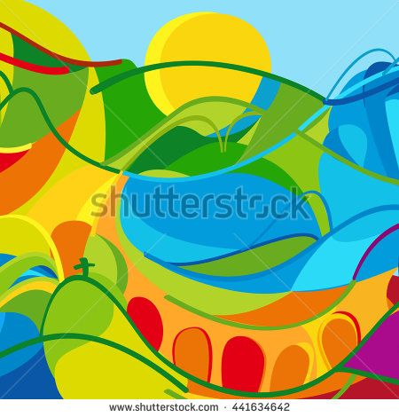Rio 2016 Brazil abstract background summer color Red and Orange mountains, blue sea and sky, green grass, yellow sun color wavy lines. Vector Olympic. Paralympic games. For Art Print web design.