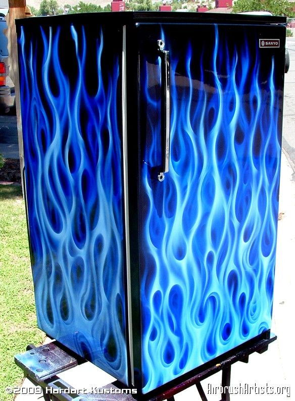 Blue Flame Mini Fridge II.  This paint job would be cool to do on our mini fridge we take in the trailer.
