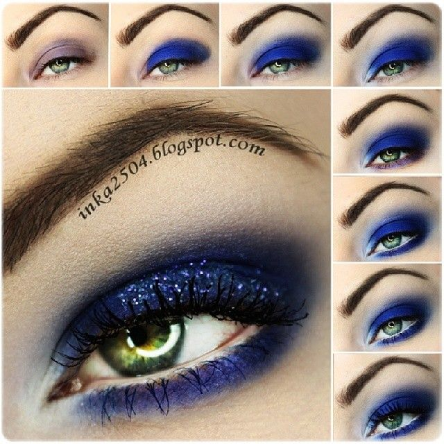 Deep blue sparkling eye makeup #tutorial #maquiagem #azul #brilhante Темно-синий макияж с блестками