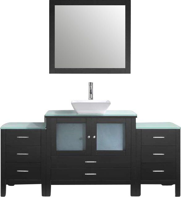 """Brentford 71"""" Single Bathroom Vanity Set with Tempered Glass Top and Mirror"""
