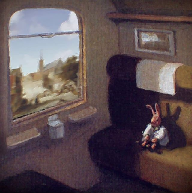 """""""Rabbit on a Train"""" (Painting to 3d) Original painting by M. Sowa (http://www.wikipaintings.org/en/michael-sowa/rabbit-on-a-train-detail) Music: Gabriel Fauré - """"Requiem"""" More at : http://www.behance.net/seccovan"""