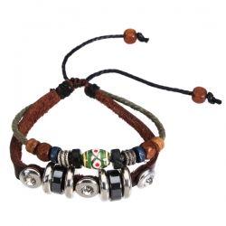 2 Layer Beaded Ceramic Cow Leather Bracelet Steel Jewelry