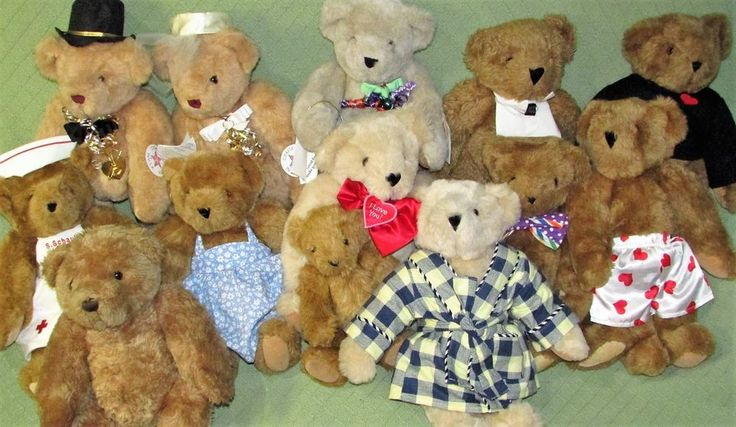 Vermont Teddy Bear HUGE Lot of 12 Jointed Plush Nurse Bride Groom Valentine VTG  #VermontTeddyBear #any