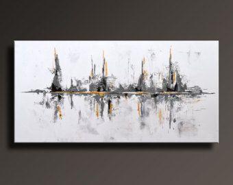"""48"""" große Original ABSTRAKTE Malerei auf Leinwand zeitgenössische moderne Kunst WEIß und GRAU Gold Schwarz Wand Kunst Dekor-ungedehnt-WG26"""