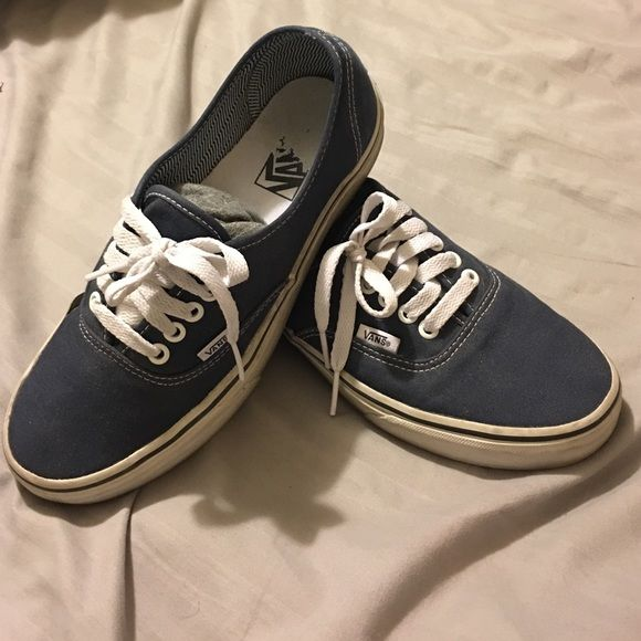 Navy Blue Vans shoes Worn about 2 times, super comfortable and easy to match outfits with!! Vans Shoes Athletic Shoes