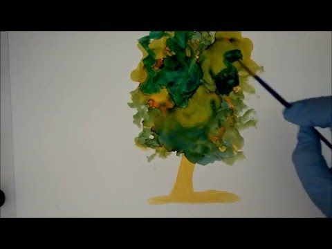 How to Paint a Tree using Alcohol Ink on Yupo -  Create Texture and blen...