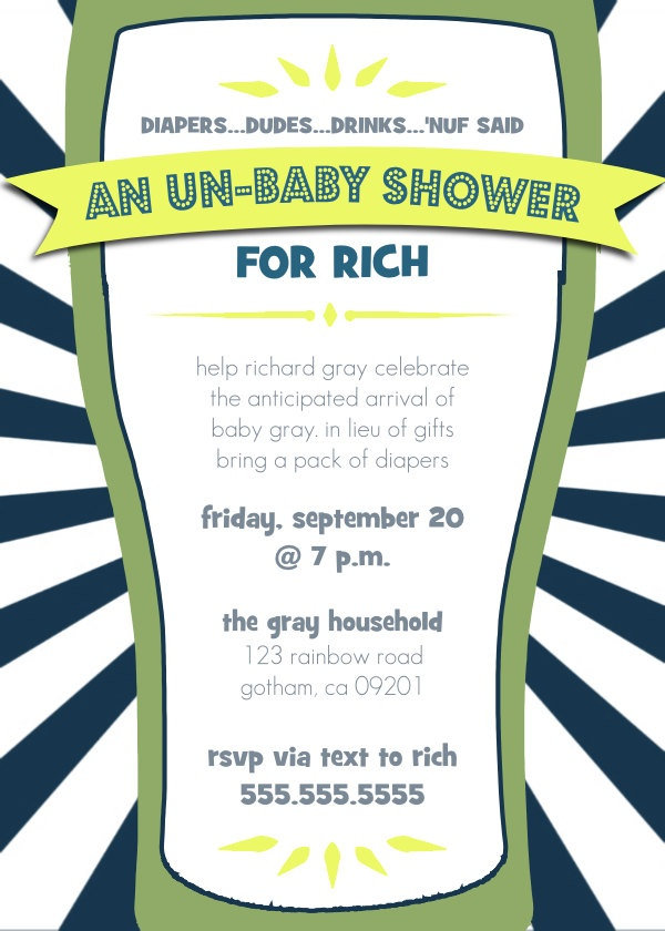 Great Daddy Diaper Un Baby Shower   Dad Shower Invitation. $10.00, Via Etsy.