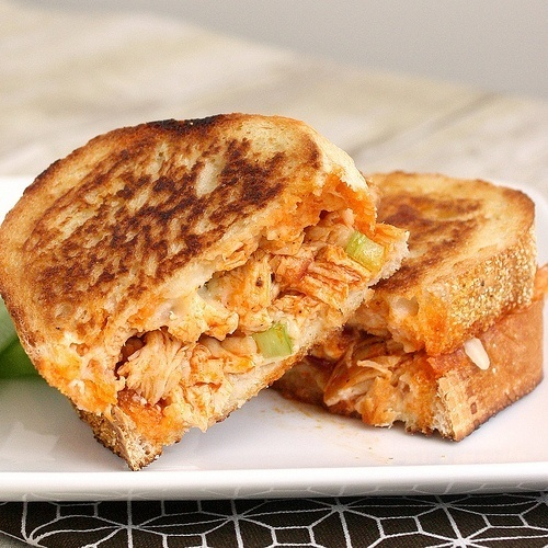 mmm...Buffalo chicken grilled cheese sammich...Im not going to lie...I used this recipe as a guideline....I used the Tyson bag of buffalo wings and a baguette I picked up and used some salad bleu cheese crumbles..but do follow the recipe for the white sauce...it fn bomb. - Continued! cheyanneholly63