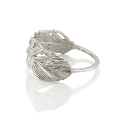 Image of FEATHER BAND RING SILVER