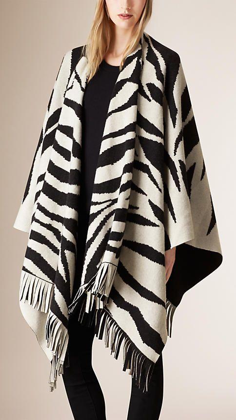 Branco/preto Poncho de lã e cashmere com estampa animal - Imagem 1