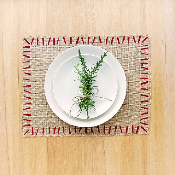 Red Brush Stroke Placemats.  Hand-printed and utterly unique.  www.DappleDesignShop.etsy.com