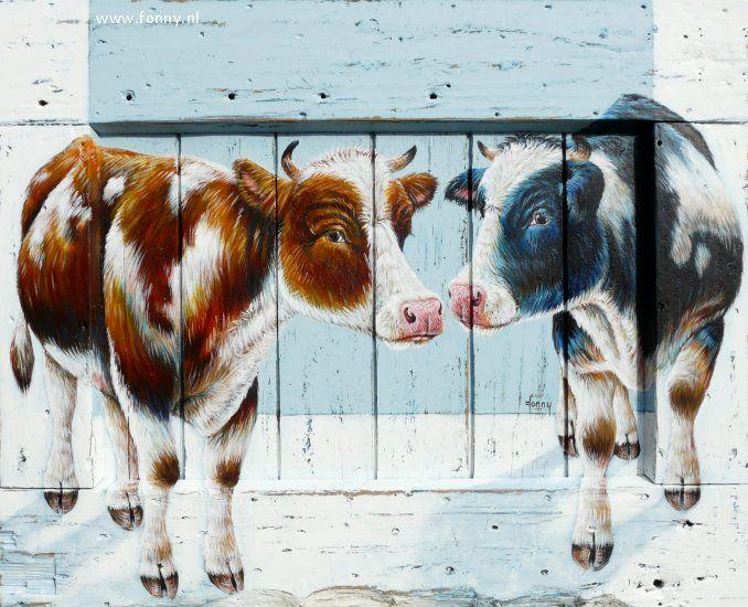 Twee koeien op oude deur / Two cows on an old door - 93 x76 x 5 cm   koe   dieren   schilderij   oud hout   deur   boerderij   cow   animals   painting   old wood   door   farm  
