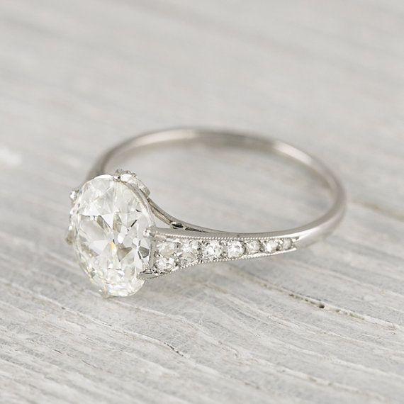Vintage 1.82 Carat Cushion Cut Engagement Ring