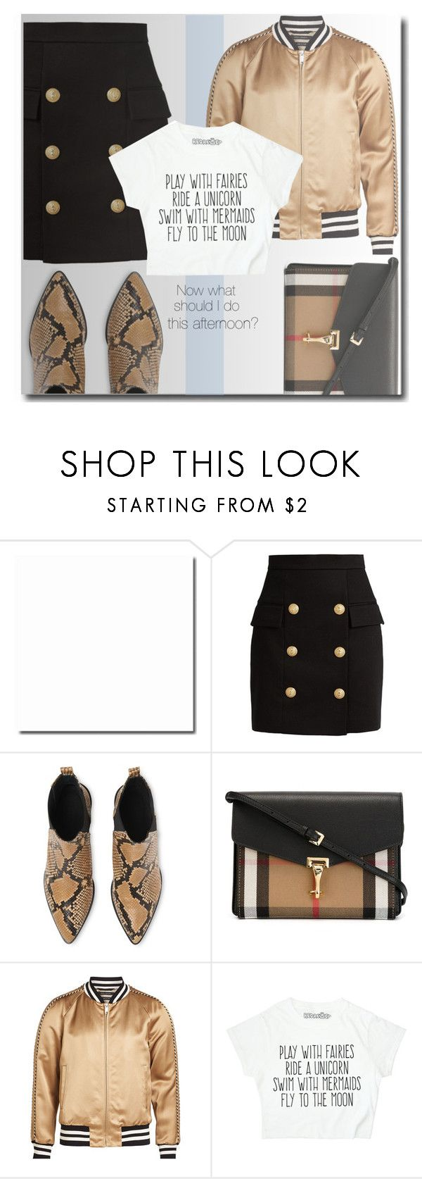 """Now what should I do this afternoon?"" by interesting-times ❤ liked on Polyvore featuring Balmain, Whistles, Burberry, Marc Jacobs and statementtshirt"