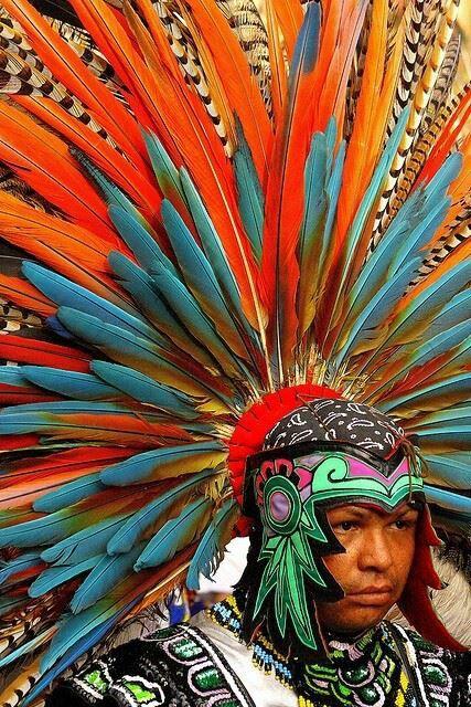 Azteca, traditional dancing costume, Queretaro-Mexico