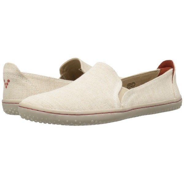 Vivobarefoot Mata Canvas (Natural) Women's Slip on  Shoes ($120) ❤ liked on Polyvore featuring shoes, vivobarefoot shoes, vivobarefoot, pull on shoes, flexible shoes and canvas slip on shoes