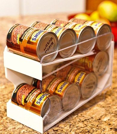 Pantry Maid Can Organizers - Food storage rotation system.  This works even better than the DIY version.  The cans roll down as you use them!