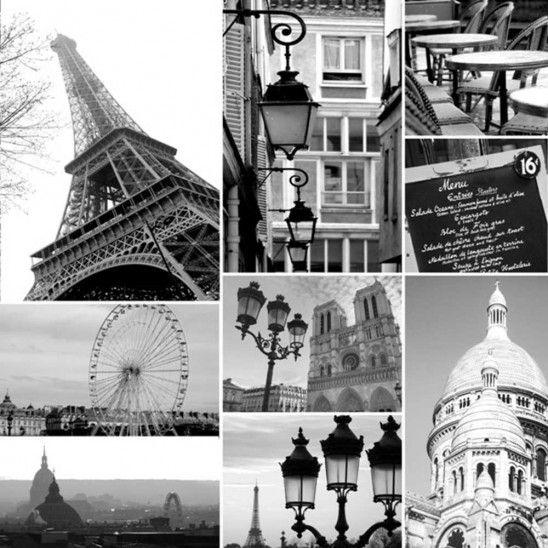 Collage Paris Print Canvas