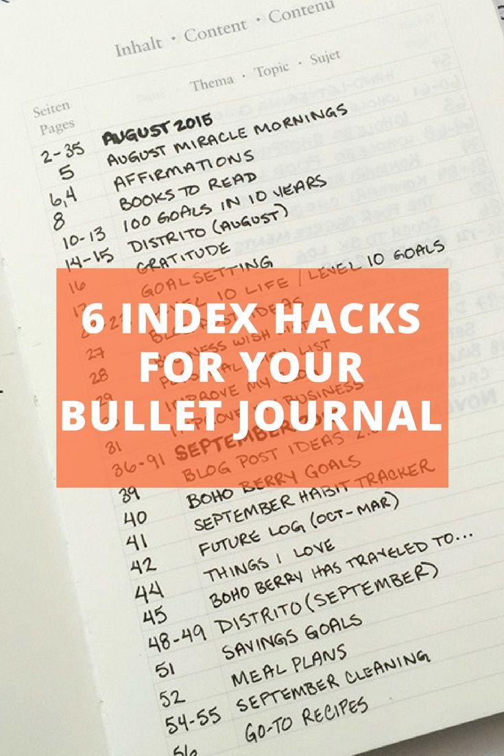 6 Index Hacks for your Bullet Journal