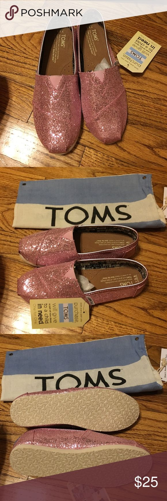 Pink glitter Toms New with tags, never worn pink glitter toms.  Comes with dust bag. TOMS Shoes