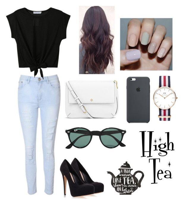 """High Tea w/ Friends"" by fashion-coma ❤ liked on Polyvore featuring beauty, Glamorous, Tory Burch, Daniel Wellington, Ray-Ban and Carvela Kurt Geiger"