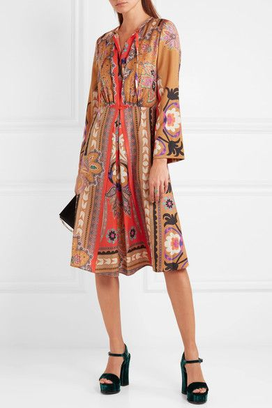 GABRIELLE'S AMAZING FANTASY CLOSET | Another of Etro's Exquisite Prints. This one is spun from Super Fine Wool, it has a Camel Ground with Tonal Pinks, Corals and Black Florals. It has a High Neck Tie and Long, Loose Sleeves on a Softly Relaxed, Gathered Waist Silhouette. I've got a Little Belt that looks like it was made for this dress and Dumbbell Coral Earrings, Rings and Bracelet. Finish with Black T-Strap Pumps and Bag (It's all on this board). This is such a pretty Fall Look…