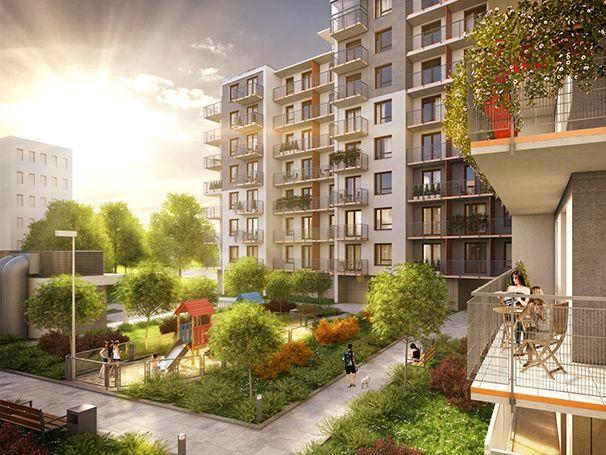 Wizualizacja naszej inwestycji od zewnątrz. Nowoczesność, rozrywka, zieleń... #wizualizacja  #placzabaw #zielen #natura #mieszkania #dom #osiedle #ludzie