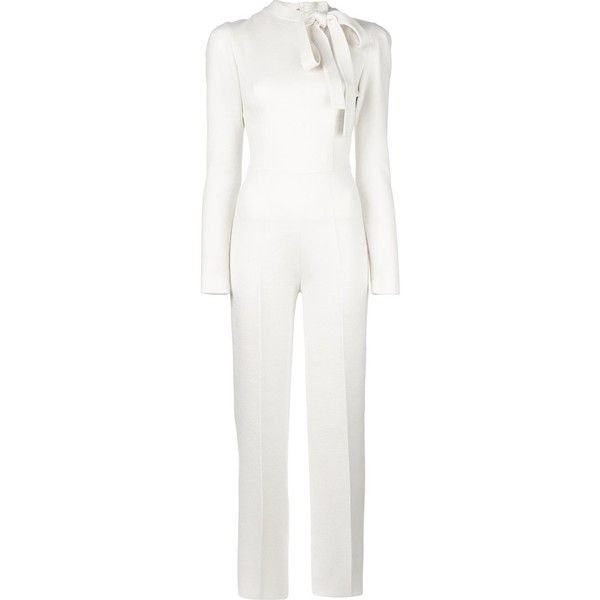 Ermanno Scervino neck tie longsleeved jumpsuit (63 525 UAH) ❤ liked on Polyvore featuring jumpsuits, white, white jumpsuit, white necktie, neck-tie, white long sleeve jumpsuit and long sleeve jumpsuit