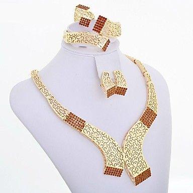 westernrain 2014 brun strass charm halsband örhängen kvinnor skönhet guldpläterad afrikanska smycken uppsättningar – SEK Kr. 148