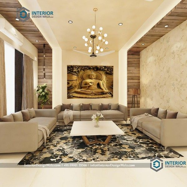 Wooden Planks False Ceiling With Buddha Painting On Wall With New Trendy Sofa Center Drawing Room Interior Design House Ceiling Design Online Interior Design #wooden #wall #design #for #living #room