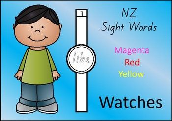 84 Sight Word Watches for words at the Magenta, Red and Yellow levels of the NZ colour wheel.Whats the time?  Sight word time!1.Decorate2.Cut  (or just leave it as a wide band)3.Wear  (just use some tape to attach it to the wrist)Included:   25 pages of Magenta word watches  28 pages of Red word watches  31 pages of Yellow word watches  2 blank watch templates  (add your own words)The font: The font used is NZ Basic Script.