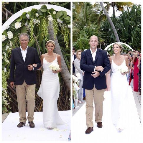 A entrada da noiva, Helena Bordon, foi metade com o pai (Pedro Bordon) e metade com o padrasto, ao som de Ave Maria. Nizan e Mica Rocha falaram durante a cerimônia e disseram que foi lindo!