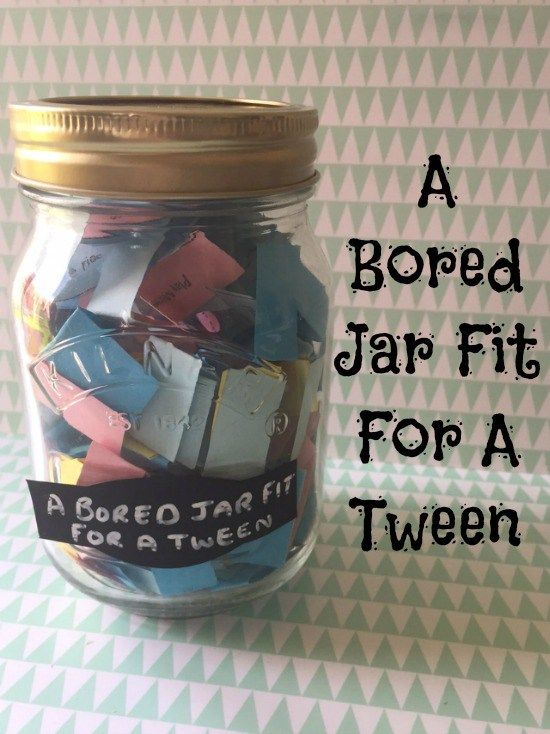 A bored jar fit for a tween including a free printable full of ideas for activities for older children to do when they're bored!