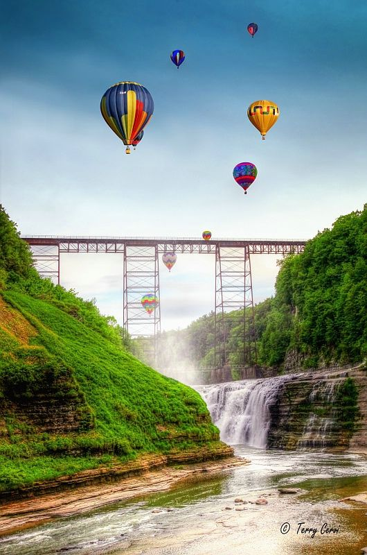 Balloons Over the Upper Falls.. Letchworth State Park, Castile, NY