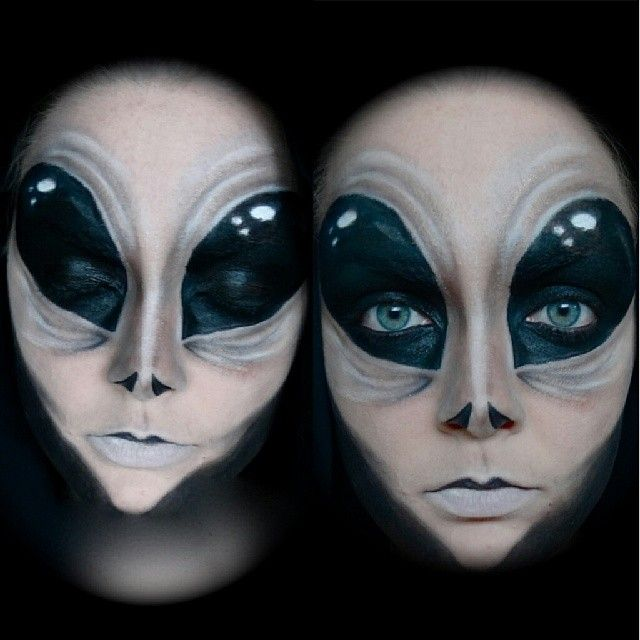 alien makeup. Amazing shaping with shadow and highlights to create structure of new face.