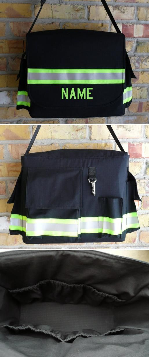 Personalized Firefighter Diaper Bag (with four exterior pockets and five interior pockets sized to fit bottles, wipes, diapers and other common baby needs) | Shared by LION