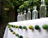 Green Garland: Outdoor Wedding, Felt Ball, Idea, Billy Ball, St. Patrick'S Day, Garlands, Glasses Bottle, Green Wedding, Baby Shower