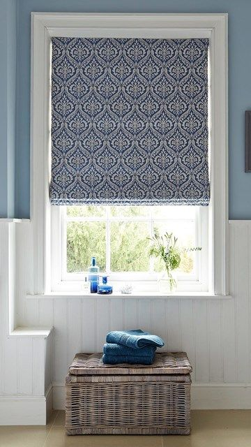 Hillarys Blue Patterned Bathroom Roman Blinds Roman