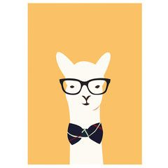 Hipster Llama Print by graphic designer and Illustrator Alice Berry. Available as A3 size high quality giclee print. Made in New Zealand
