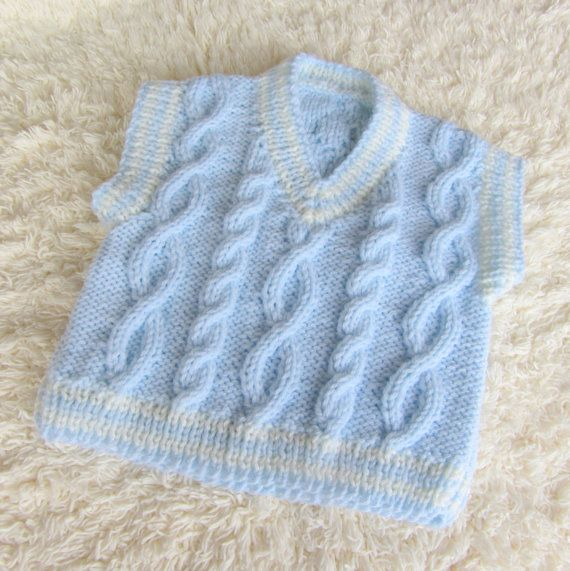 Hand Knit Aran Baby Vest by jayceeoriginals on Etsy, $20.00